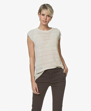 BY-BAR Phoeby Ajour Gebreide Top met Lurex - Off-white