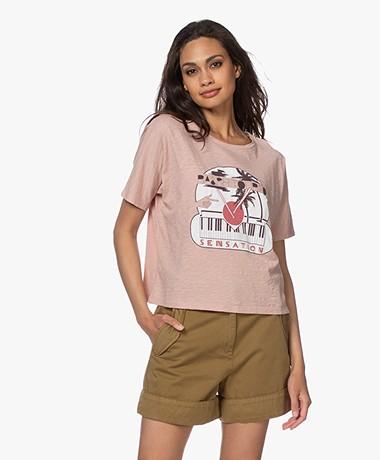 ba&sh Pink Slub Jersey Print T-shirt - Roze