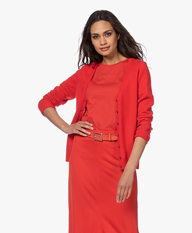 Repeat Cashmere V-neck Cardigan - Red