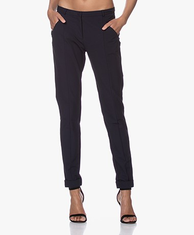 JapanTKY Leiko Slim-fit Jersey Broek - Zwartblauw