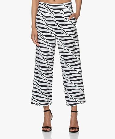 JapanTKY Kona Travel Jersey Zebra Printed Culottes - Black/White