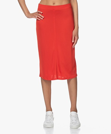 Filippa K Margaret Tech Jersey Knielange Rok - Red Orange