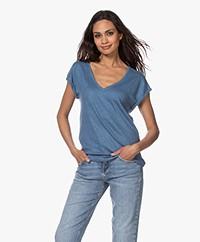 by-bar Mila Linnen V-hals T-shirt - Indi Grey