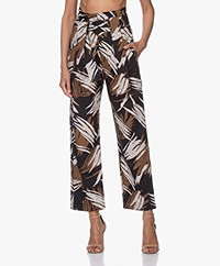 Closed Glen Cotton Pants with Print - Black