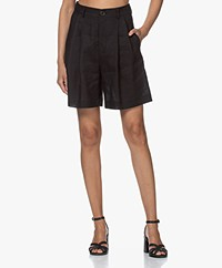 Resort Finest Gina Linen Pleated Shorts - Black