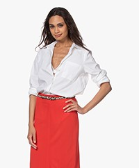 Repeat Cotton Blend Stretch-poplin Shirt - White