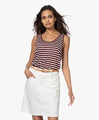 Closed Striped Linen Tank Top - Raisin