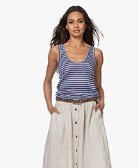 Pomandère Linen Blend Striped Tank Top - Lavender/Beige