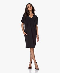 JapanTKY Mayus Travel Jersey V-neck Dress - Black