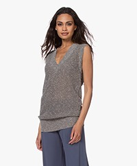 Repeat Sleeveless V-neck Sweater with Lurex - Burla