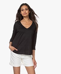 Majestic Filatures Cropped Sleeve Linen T-shirt - Black