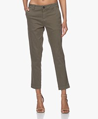MKT Studio Panamo Peachy Cotton Blend Chinos - Army Green
