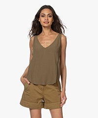 ba&sh Figue Reversible Crepe Top - Khaki