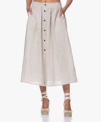 Resort Finest Sophia Linen Button-through Skirt - Warm Sand