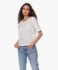 no man's land Kanten Blouse met Korte Mouwen - Wit
