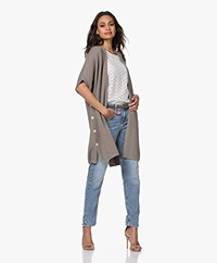 Repeat Open Short Sleeve Cardigan - Khaki