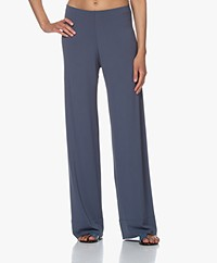 no man's land Crepe Jersey Pants with Wide Legs - Denim