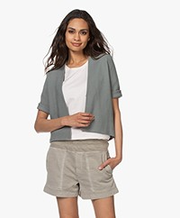 no man's land Short Cotton Cardigan - Sage