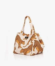 WOUF Leopard XL Shopper - Off-white/Geel