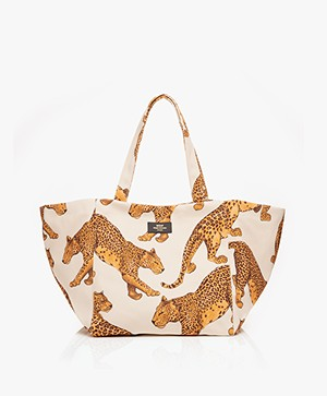 WOUF Leopard XL Shopper - Off-white/Geel