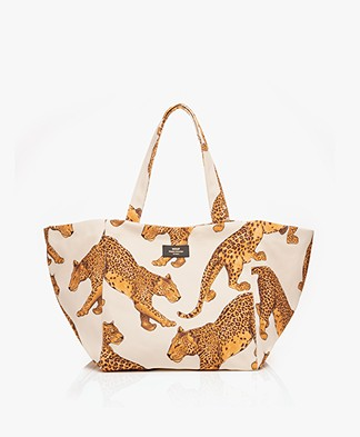 WOUF Leopard XL Totebag - Off-white/Yellow