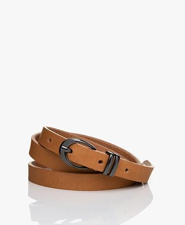 Drykorn Ilana Narrow Leather Belt - Toasted Coconut