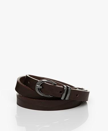 Drykorn Ilana Narrow Leather Belt - Espresso