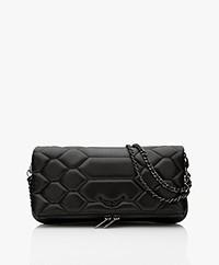 Zadig & Voltaire Rock Mat Scale Lamb Leather Schoulder Bag/Clutch - Black