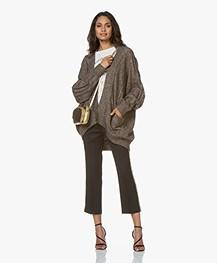 Mes Demoiselles Clarke Oversized Vest met Lurex Details - Bruin