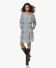 Repeat Pure Silk Shirt Dress with Snake Print - Mud