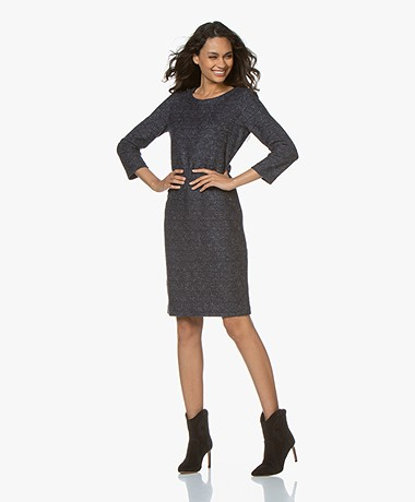 Belluna Jasmine Wool Cropped Sleeve Dress - Blue/Grey Melange
