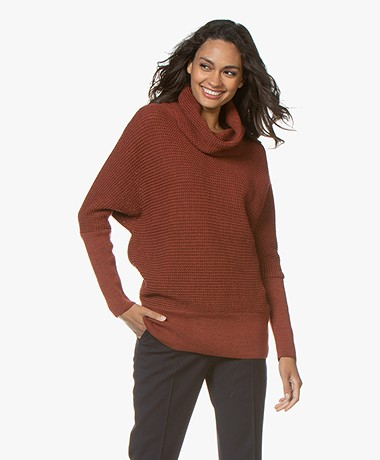 Sibin/Linnebjerg Tut Merino Sweater with Draped Turtleneck - Rust