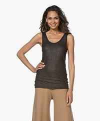 Majestic Filatures Lurex Tank Top - Metal/Black