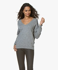 Closed V-hals Trui van Puur Cashmere - Grey Heather Melee