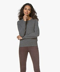 Repeat Round Neck Cashmere Sweater - Medium Grey