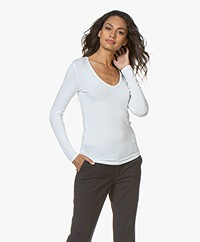 Majestic Filatures Soft Touch T-shirt with V-neck - White