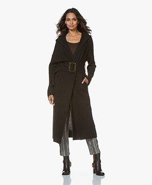 ba&sh Chalie Long Hooded Cardigan with Cashmere - Anthracite