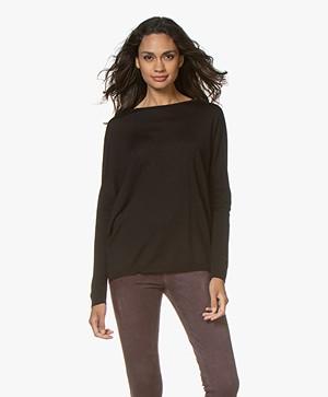 LaSalle Fine Knitted Wool Blend Sweater - Black