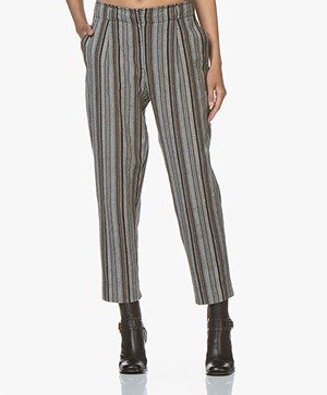 Vanessa Bruno Malice Striped Cotton Pants - Cendre