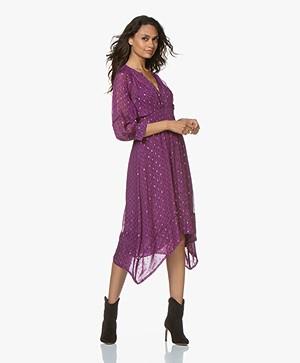 ba&sh Cyana Midi Dress with Lurex Details - Purple