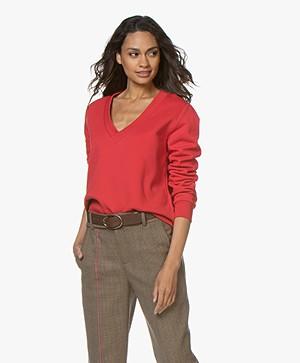 Closed Oversized V-neck Sweatshirt - Red Pepper