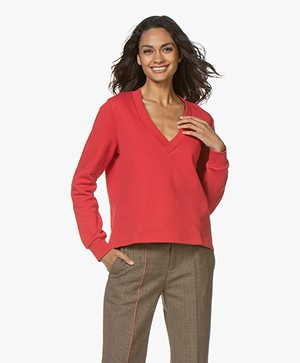 Closed Oversized V-hals Sweater - Red Pepper