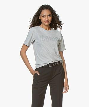 Majestic Filatures Katoenen T-shirt met Print - Brume Mêlee
