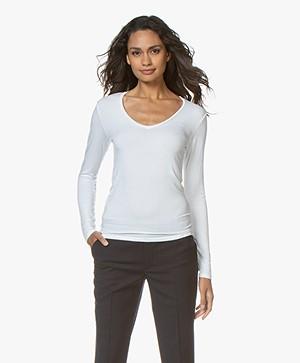 Majestic Filatures Soft Touch T-shirt met V-hals - Wit