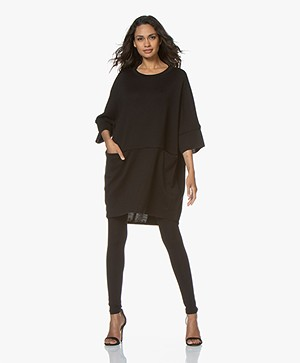 LaSalle Knitted Oversized Tunic Dress - Black