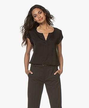 Repeat Silk Cap Sleeve Blouse - Black