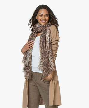 LaSalle Snake Print Scarf in Wool and Modal - Brown
