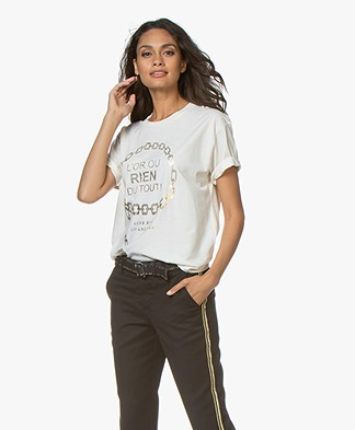 ANINE BING Ringo Cotton Print T-shirt - Cream