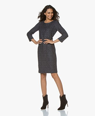 Belluna Jasmine Wool Cropped Sleeve Dress - Blue/Grey Melange