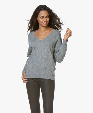 Closed Pure Cashmere V-neck Sweater  - Grey Heather Melange